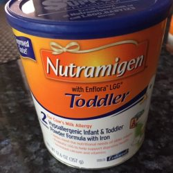 Five 12.6 ounce cans of Nutramigen with Enflora LGG Toddler Powder Formula