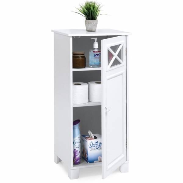 Floor Cabinet Bathroom Storage White Organizer Shelves Wood Door Shelf Linen New