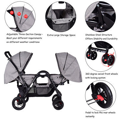 Foldable Face To Face Twin Baby Stroller Double Kids Infant Reclining Seats Gray
