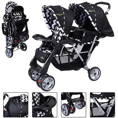 Buy Best Foldable Twin Baby Double Stroller Kids Jogger Travel Infant  Pushchair Black