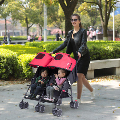 Buy Best Foldable Twin Baby Double Stroller Kids Jogger Travel Infant Pushchair Red