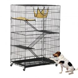 Folding Collapsible Pet Cat Wire Cage Indoor Outdoor Playpen Vacation Size L