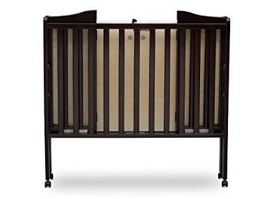 Folding Portable Crib with Mattress, Dark Chocolate For Small Spaces or Travel