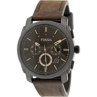 Buy Best Fossil Men's Machine FS4656 Brown Leather Analog Quartz Fashion Watch