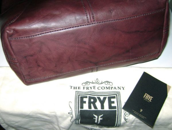 Frye Black Cherry Campus Rivet Leather Large Shoulder Bag NWT $398