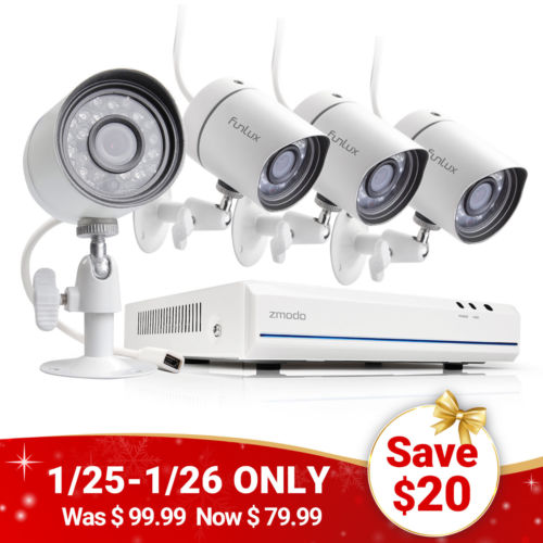 Buy Best Funlux 4CH 1080p NVR IP Network PoE 4 720p Home Security Camera System No HDD