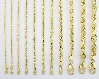 """GENUINE 14K Yellow Gold 16""""-32"""" Rope Chain Pendant Necklace Men Women 1MM to 5MM"""