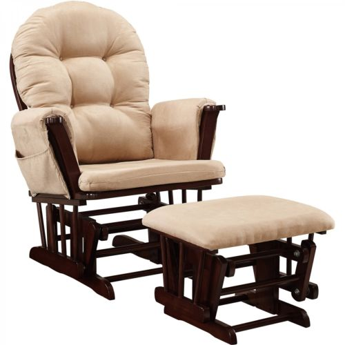 Glider and Ottoman Cherry Baby Rocker Chair Beige Cushions Rocking Furniture New