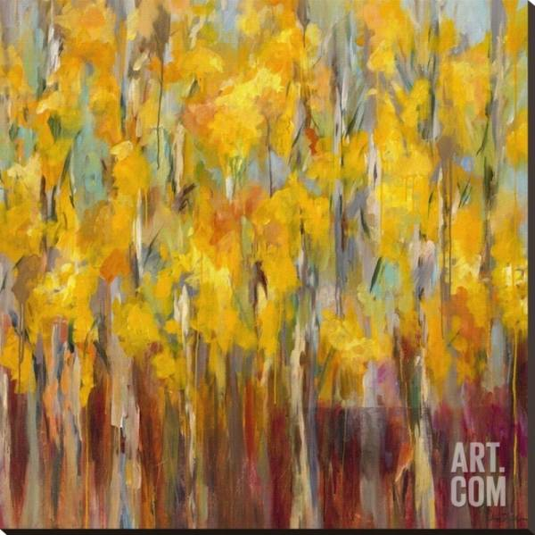Golden Angels in the Aspens Stretched Canvas Poster Print by Amy Dixon, 42x4...