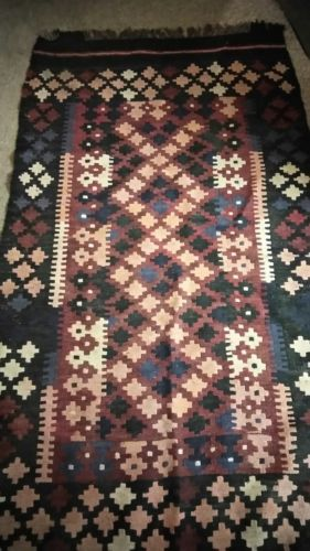 "Hand Woven Antique Kilim Rug Runner 74"" Long"