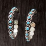 Handcrafted Turquoise & Sterling Silver Hoop Earrings - Florenda Lonasee