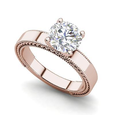 Handmade Milgrain 1 Carat VS2/D Round Cut Diamond Engagement Ring Rose Gold