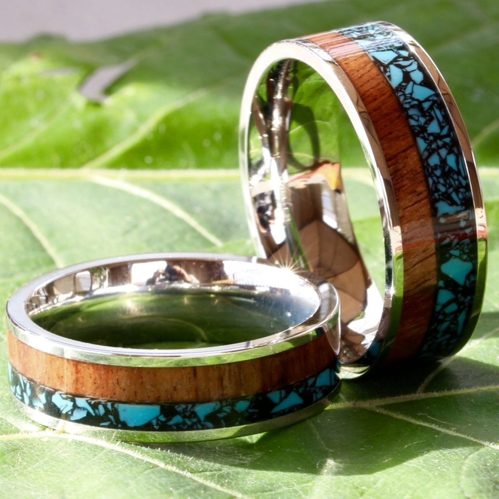 Buy Cheap His And Her Wedding Band Set Turquoise Koa Wood