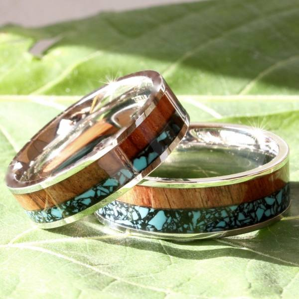 His and Her Wedding Band Set Turquoise Koa Wood Stainless Steel Engagement Rings
