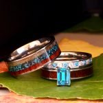 His and Her Wedding Rings Set Blue Topaz Deer Antler Turquoise Wood Engagement