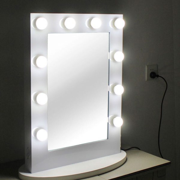 Hollywood Tabletops Lighted Makeup Mirror Vanity  White Dimmer+FREE 12 LED bulbs
