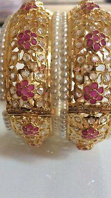 Hyderabadi bridal bangles / kada in ruby