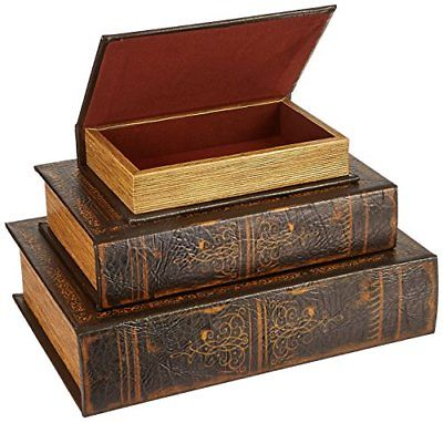 IMAX 1942-3 Old World Book Box Collection Set of 3