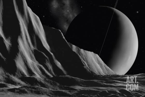 Buy Best Ice Cliffs Of Miranda - Noir Giclee Poster Print by David A Hardy, 72x48