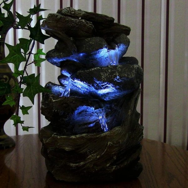 Buy Best Indoor Water Fountain Tabletop Waterfall LED Light Zen Decor Table Small Rock