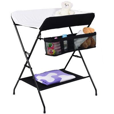 Infant Baby Changing Table Folding Diaper Station Nursery Organizer w/ Storage
