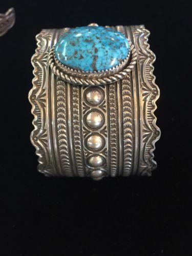 Ithica Peak Gem Turquoise Heavy Wide Sterling Bracelet.Signed Harold Joe