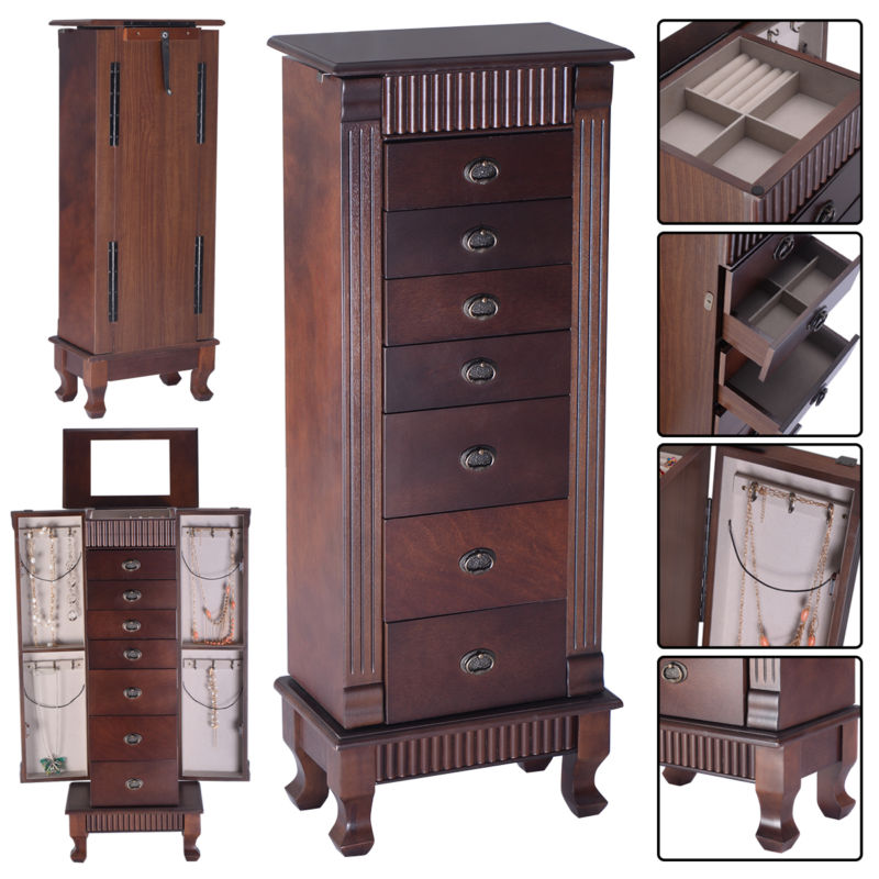 Buy Best Jewelry Cabinet Armoire Box Storage Chest Stand Organizer Wood Christmas Gift