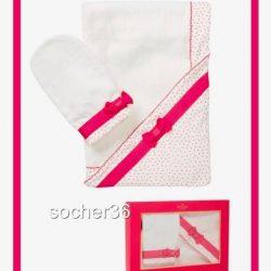 KATE SPADE INFANT GIRLS' HOODED TOWEL & MITT SET CREAM & SNAPDRAGON PINK NIB $58