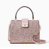 KATE SPADE SUNSET LANE MINI KIRIN SHOULDER BAG GLITTER LEATHER XBODY ROSE GOLD