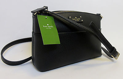 Kate Spade Millie Grove Street Leather Crossbody Bag BLACK Shoulder Handbag NWT