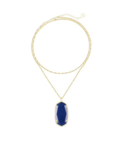 Kendra Scott Rae Navy Cat's Eye 14K Gold Plated Oval Pendant Layer Necklace New