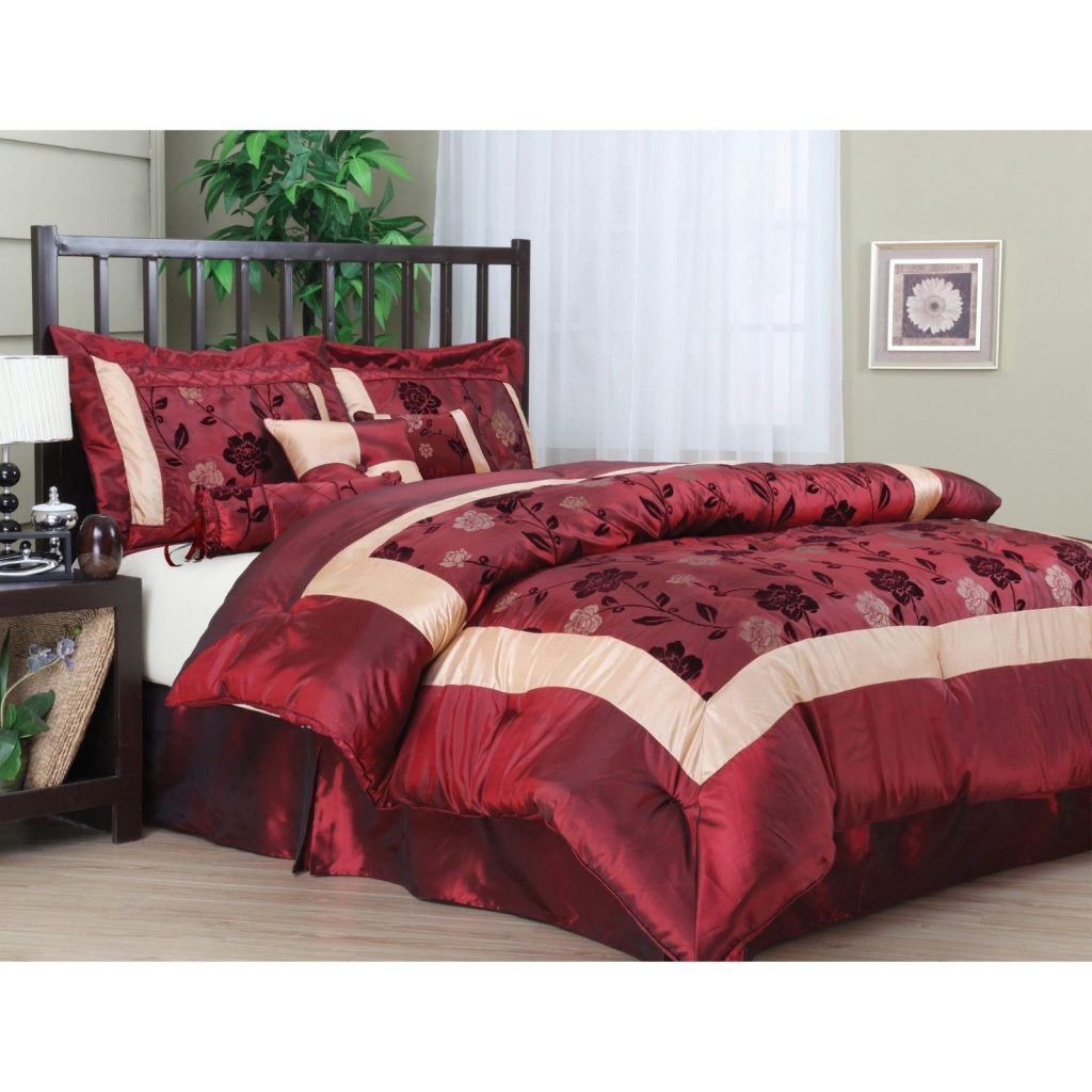 Buy Cheap King Size Comforter Set 7 Pc Burgundy Red Gold