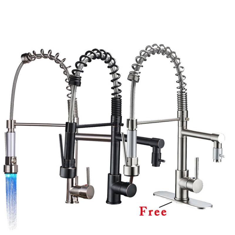 Kitchen Faucet Swivel Spout Pull Down Sprayer Deck Mount Sink Mixer Tap