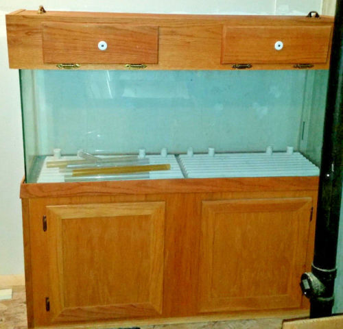 Buy Best LOCAL PICKUP ONLY  55 Gal/Gallon Aquarium Fish Tank with Oak Wood Stand and Top