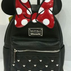 LOUNGEFLY DISNEY MINNIE MOUSE BOW FAUX LEATHER MINI BACKPACK NEW