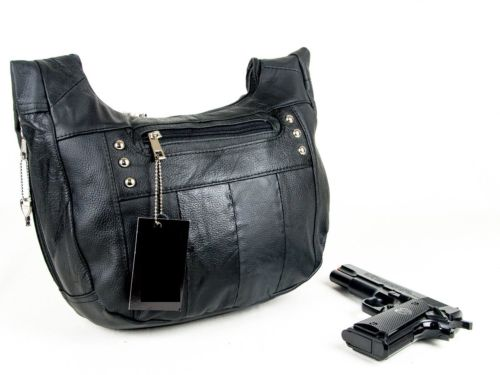 Leather Locking Concealment Purse - CCW Concealed Carry Gun Handbag CWP