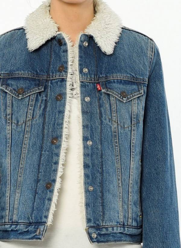 Levis Sherpa Womens Trucker Jacket # 283440001 Levi's Denim Sherpa Levi Strauss