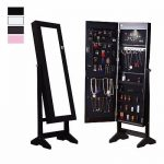 Buy Best Lockable Mirrored Jewelry Cabinet Armoire Organizer Storage Box w/ Stand LED NEW