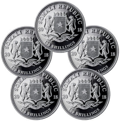 Lot of 10 - 2018 Somalia 1 oz Silver Elephant Sh100 Coins GEM BU SKU49892