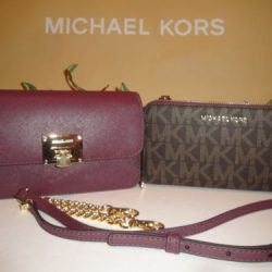 MICHAEL KORS TINA WALLET CLUTCH XBODY CROSSBODY BROWN PLUM 2 IN 1 WALLET BAG