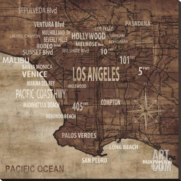 Buy Best Map of Los Angeles Artists Stretched Canvas Poster Print by Luke Wilson, 40x4...