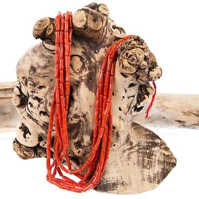 Meditteranean Coral Navajo Necklace Pueblo Beads GRADE AA Natural OxBlood RED