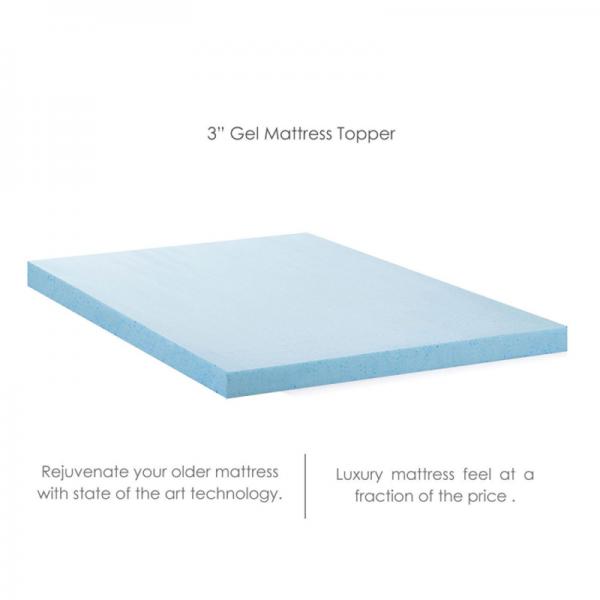 Memory Foam Mattress Topper 3 Inch Thick Cooling Gel - KING Size - Memory Foam T