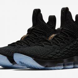 Men Nike LeBron 15 Black/Gold 897648-006