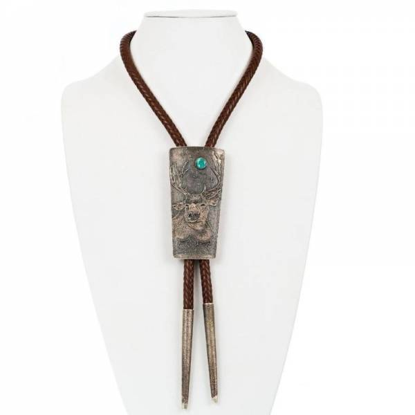 "Mens Navajo Bolo Tie ""BIG BUCK"" TUFA CAST Hunter Sterling Silver MONTY CLAW A+"