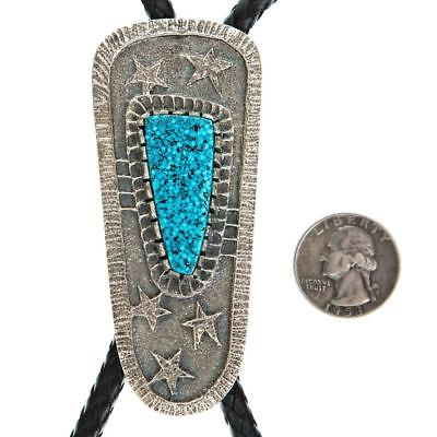 Mens Navajo Bolo Tie KINGMAN Turquoise TUFA CAST Sterling Silver MONTY CLAW A+