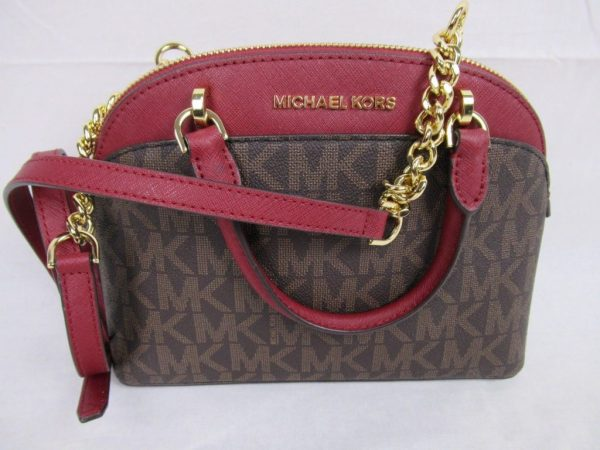 Buy Best Michael Kors Emmy Small Cindy Dome Satchel Crossbody Brown Signature MK Cherry