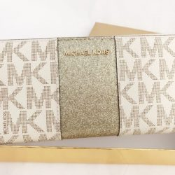 Michael Kors Jet Set Travel Center Stripe Continental Wallet Vanilla MK Gold BOX