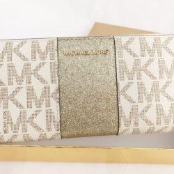 Buy Best Michael Kors Jet Set Travel Center Stripe Continental Wallet Vanilla MK Gold BOX