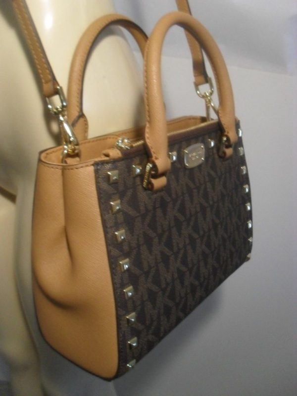 Michael Kors Signature Sandrine or Kellen Stud Mini XS tote Crossbody Bag Brown